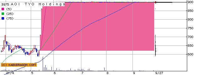 3975 AOI TYO Holdings 半年チャート